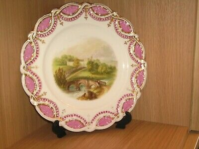 Antique  Rare Cabinet Plate With Haddon Hall Medieval Manor House Bakewell • 75£