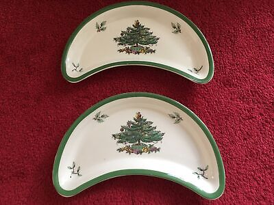 Spode Christmas Tree Crescent Dishes • 8£