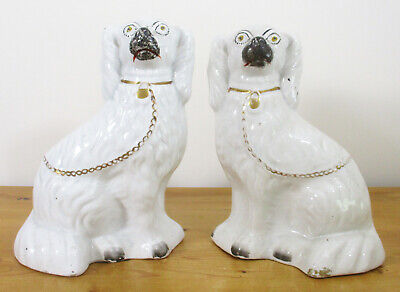 Pair Of 19th.Century Staffordshire Mantel/Wally Dogs - 27cm/10.5  Tall • 6£
