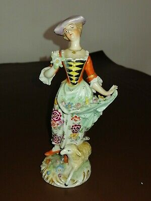 Sitzendorf - Figure Of A Lady With A Lamb And Encrusted Flowers • 30£