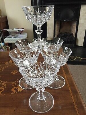 CUT CRYSTAL CHAMPAGNE COUPES  WITH FACETED KNOPPED STEMS X 6 • 18£