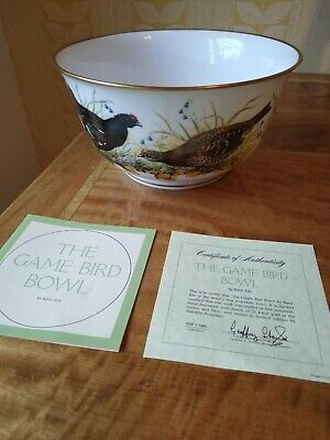 The Game Bird Bowl By Basil Ede Franklin Porcelain Ltd Ed. 1981 *COA* • 25£