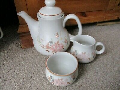 Boots Hedge Rose Pottery Tea Service Set (vgc) - Teapot, Milk Jug & Sugar Bowl • 9.99£