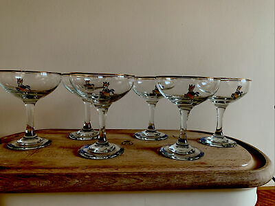 Vintage Set Of 6 Babycham 1960/70s Yellow Fawn Gold Rimmed Glasses  • 23£