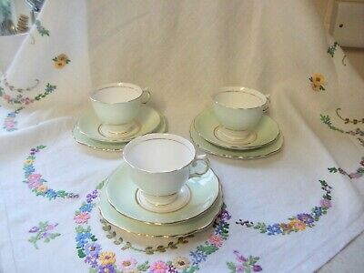 Colclough Harlequin Ballet Palest Green  Bone China Afternoon Tea Trio  • 12.99£