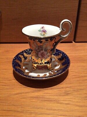 Miniature Orchid, Cup And Saucer Duo, Porcelain, Excellent Condition  • 7£