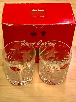 Vintage Royal Brierley Hand Cut Lead Crystal Honeysuckle Whiskey Glasses X 2 NEW • 12.50£