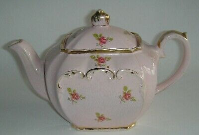 Vintage Shabby-Chic SADLER Pink Cube Teapot With Small Roses - Holds 5 Tea Cups • 13.50£