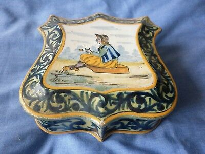 Vintage Quimper Shield Shaped Trinket Box Attractively Painted Design Young Man • 22£