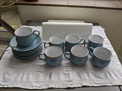 Denby Colonial Blue Coffee Cup And Saucer - 7 Available - Sold Individually • 5.50£