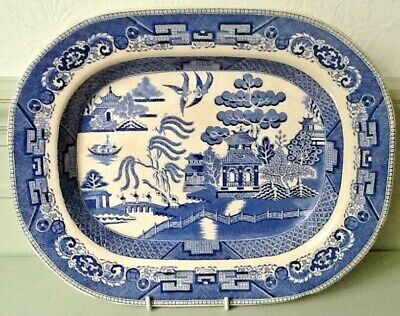 Antique  WEDGEWOOD  Willow Pattern Large Platter • 8£