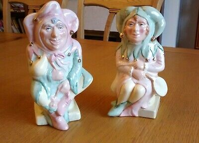 Royal Doulton  The Jester & The Lady Jester  D7109 & D7110 Toby Jugs • 35£