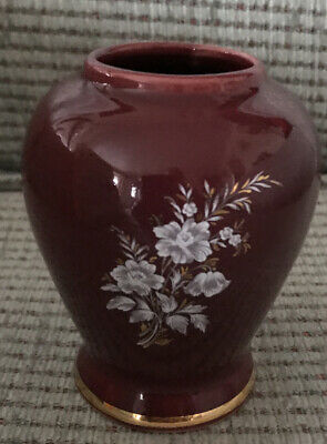 Prinknash Pottery Vase Burgundy Floral Cream Gold Gilt Trim • 9.99£