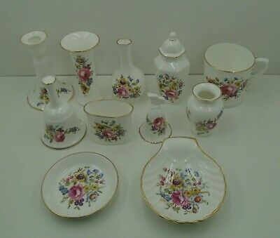 11 Item Bundle Royal Worcester Pink Rose - Dishes Posy Holders Cup Bell Etc SEE  • 9.99£