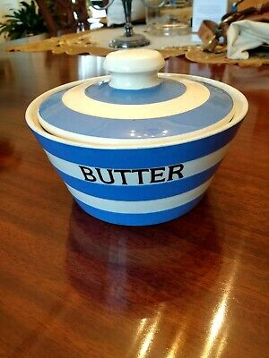 T G Green Cornishware Blue White Butter Dish • 13.50£