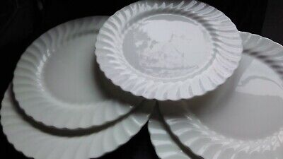 5x Wedgwood Candlelight Dinner Plates 11  Wide White Wavey Rimmed NO DAMAGE • 45£