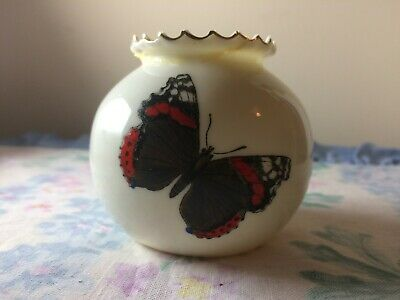 Rare Antique W H Goss Porcelain China Vase Butterfly Dragonfly Small Crinkle Top • 25£