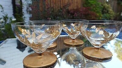 Antique Exquisite Gilded Liqueur Or Cocktail Glass  Or Coupe Bowl  Set Of 4 • 16£