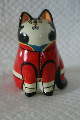 Unsigned Joan De Bethel Attributed 11cm Pottery Cat - Red Military Tunic • 50£