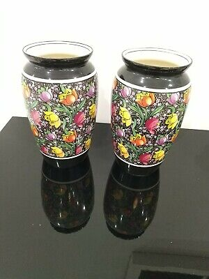 Pair Of Vases Thos Gibson And Sons Burslem England Black With Flowers Decorated  • 14.80£