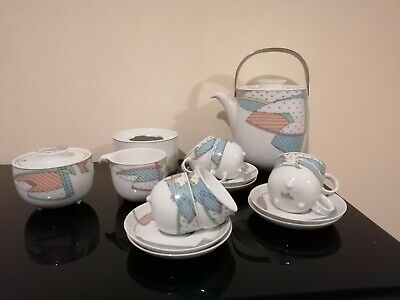 Rosenthal New Wave Coffee Pot, Warmer, Milk, Sugar, 6 Cups/saucers With  Feet  • 23£