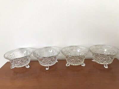 4 Small Art Deco Glass Trifle/Dessert Dishes • 5£