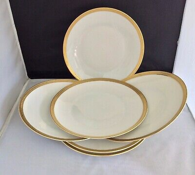 ROSENTHAL -GOLD RIMMED PLATES WITH UNUSUAL LETTERING AROUND RIMS  6 X 25cm • 19£