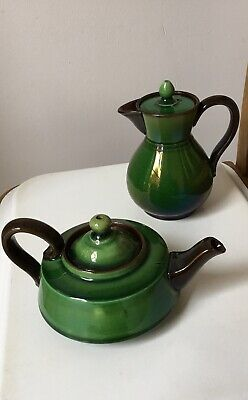 Vintage Watcombe Torquay Pottery Green Teapot & Coffee Pot • 10£