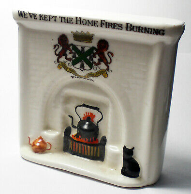 Arcadian China Fireplace 'We Kept The Home Fires Burning' Crested For Plymouth • 4.99£