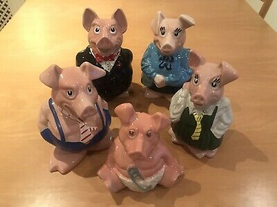 Wade NatWest Pigs - Collection Of 5 Full Family Set - With Stoppers Piggy Bank • 3.16£