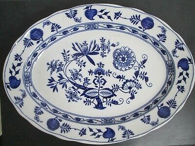 Antique Large Blue And White Wedgwood 'Onion' Meat Dish. • 40£