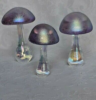 Heron Glass Set Of  Three Amethyst Mushrooms - Hand Crafted In England - Boxed • 39£