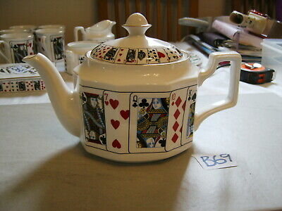Rare Queens Bone China Cut For Coffee Playing Cards  Rare  Large Teapot  Pot • 24.99£