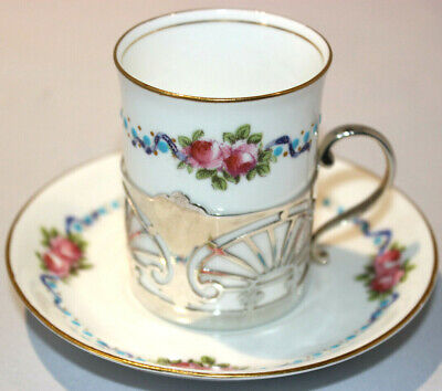 George Jones Crescent China Silver Mounted Coffee Can / Cup & Saucer  • 65£