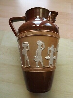 Rare Doulton Lambeth Egyptian Hieroglyphs Pattern Jug With Sphinx Spout C1920  • 50£