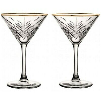 Crystal Cut Gold Rimmed Martini  /cocktail/champagne Glasses X 2 • 18.99£
