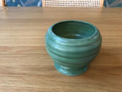 "Art Deco Carlton Ware Green Ribbed Pot/ Vase C1930s 4""x 4.5"" • 8.99£"