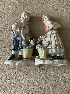 Boy & Girl Porcelain Figurines - Very Good Condition • 5£