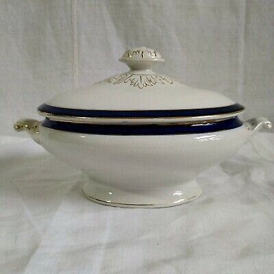 Antique Blue White And Gold Small Covered Vintage Tureen  • 24£