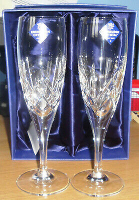 Edinburgh Crystal Broughton Champagne Flutes/Glasses – X2 – Boxed Excellent Cond • 32£