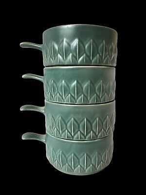 Holkham Pottery 4 Vintage Green Stacking Soup Bowls Handles Rustic Farmhouse Old • 24.99£