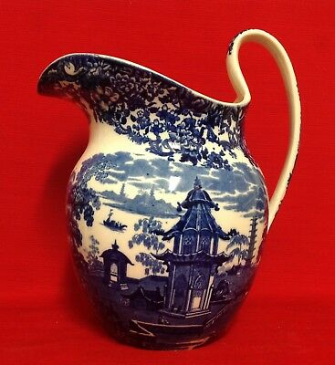 Wedgwood Antique Chinese Willow Pattern Blue & White Jug C1890. H.11.5  (29cm) • 78£