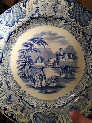 Rare Scottish Pottery Blue & White Plate Watteau By  J.Thomson & Sons Annfield • 12.50£