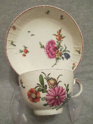 Ludwigsburg Porcelain Floral Moulded Cup & Saucer 18th Century • 125£