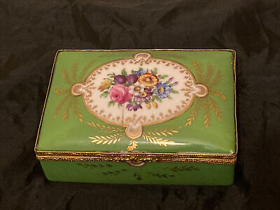 Beautiful Early C20th Hand Painted Sevres ? Porcelain Box With Floral Decoration • 125£