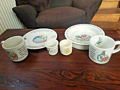 6 Pieces Peter Rabbit  Nursery Set From Wedgewood England + Doulton Egg Cup • 40£