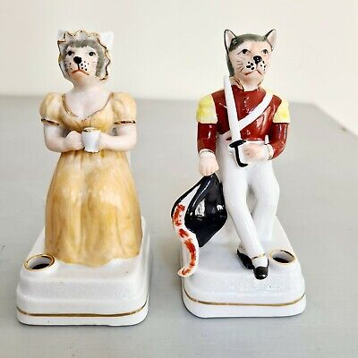 Antique Pair Ceramic Ink Pen / Spill Holders Modelled As Cat Soldier & Wife • 60£