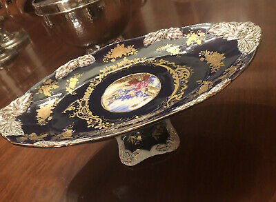 Limoges Style Oval Comport Cake Stand Dark Blue Gilded Gold Sevres Style  Large • 39£