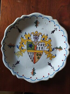 19th Century French Faience Nevers Pottery Armorial Plate 25cm • 20£