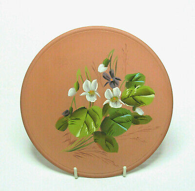 Antique LONGPARK Pottery Hand Painted Terracotta PLATE Violets Late 19th Century • 17.99£